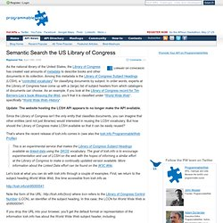 Semantic Search the US Library of Congress