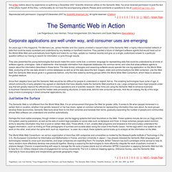The Semantic Web in Action - Scientific American - December 2007