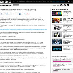 Web Semantics: Cyberspace security glossary