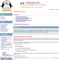Sémantique HTML