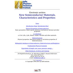 New Semiconductor Materials. Characteristics and Properties