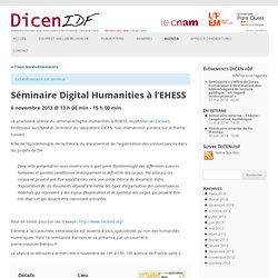Séminaire Digital Humanities à l'EHESS