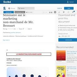 Séminaire sur le marketing non-marchand de Mr. Bronsart