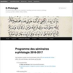 Programme des séminaires e-philologie 2016-2017