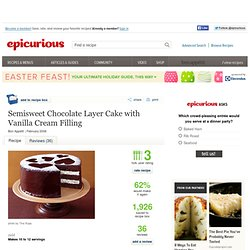 Semisweet Chocolate Layer Cake with Vanilla Cream Filling Recipe at ...