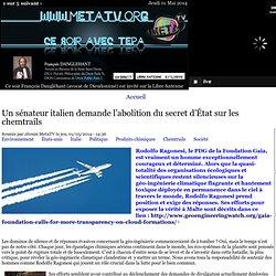 Un sénateur italien demande l'abolition du secret d'État sur les chemtrails