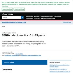 SEND code of practice: 0 to 25