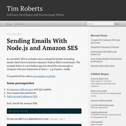 Sending emails with Node.js and Amazon SES - Tim Roberts
