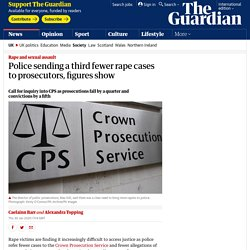 Police sending a third fewer rape cases to prosecutors, figures show