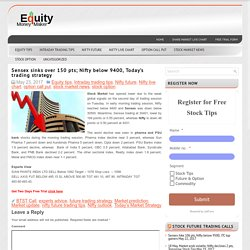 Sensex sinks over 150 pts; Nifty below 9400, Today's trading strategy