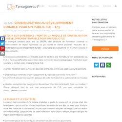 Sensibilisation au développement durable pour un public FLE 1/3