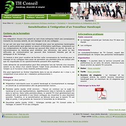 Formation TH Conseil - Sensibilisation à l'intégration d'un Travailleur Handicapé