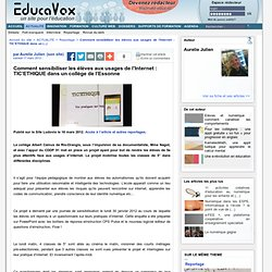 Comment sensibiliser les élèves aux usages de l'Internet : TIC'ETHIQUE dans un collège de l'Essonne