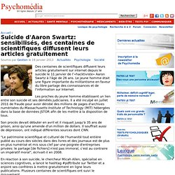 Suicide d'Aaron Swartz: sensibilisés, des centaines de scientifiques diffusent leurs articles gratuitement