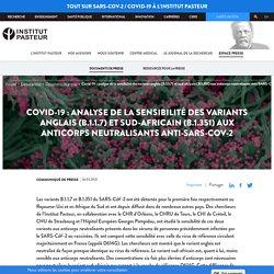 Covid-19 : analyse de la sensibilité des variants anglais (B.1.1.7) et sud-africain (B.1.351) aux anticorps neutralisants anti-SARS-CoV-2 / Institut Pasteur, avril 2021
