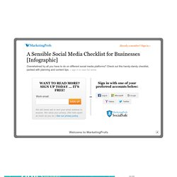 A Sensible Social Media Checklist for Businesses