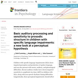 Basic auditory processing and sensitivity to prosodic structure in children with specific language impairments: a new look at a perceptual hypothesis