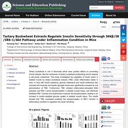 Tartary Buckwheat Extracts Regulate Insulin Sensitivity through IKKβ/IR/IRS-1/Akt Pathway under Inflammation Condition in Mice