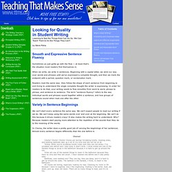 Writing: Smooth Sentence Fluency -- Six Traits Assessments Sentence Structure