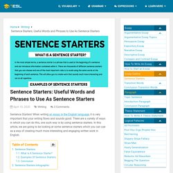 Sentence Starters: Useful Words And Phrases To Use As Sentence Starters
