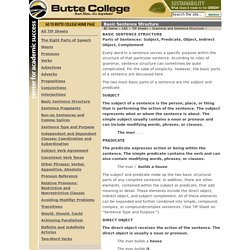 Basic Sentence Structure - TIP Sheets - Butte College