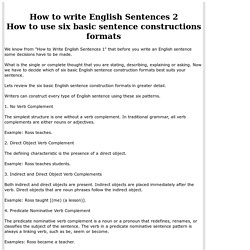 How to write English Sentences using six basic sentence construction formats