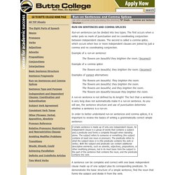Run-on Sentences and Comma Splices - TIP Sheets - Butte College
