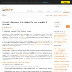 Develop Sentiment Analysis tool for your brand in 10 min - Textalytics
