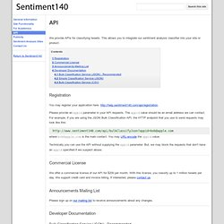 API - Sentiment140 - A Twitter Sentiment Analysis Tool
