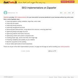 SEO implementations on Zapseller