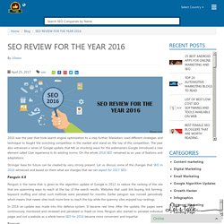 SEO REVIEW FOR THE YEAR 2016