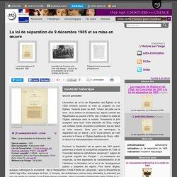 La loi de séparation du 9 décembre 1905 et sa mise en œuvre