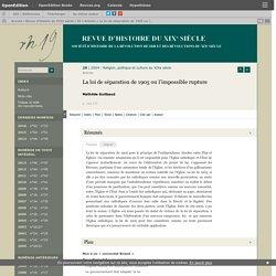 La loi de séparation de 1905 ou l'impossible rupture