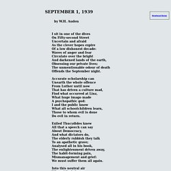 w h audens september 19th 1939 Beliefs column on resonance of w h auden poem 'september 1, 1939' in aftermath of september 11 terrorist attacks poem, written in response to outbreak of.