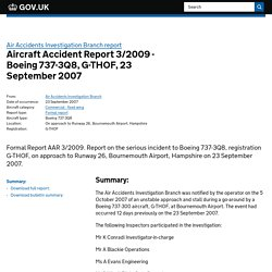 Aircraft Accident Report 3/2009 - Boeing 737-3Q8, G-THOF, 23 September 2007 Air Accidents Investigation Branch report