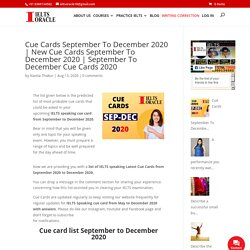 September To December Cue Cards 2020 - Best IELTS coaching institute in phase 2 mohali