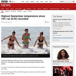 Highest September temperature since 1949 as 32.2C recorded