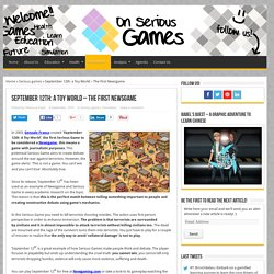 September 12th: A Toy World - On Serious Games