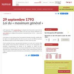 29 septembre 1793 - Loi du «maximum général»