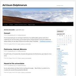Ad Usum Delphinorum » 2011 » septembre