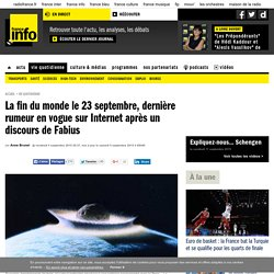 La fin du monde le 23 septembre, dernière rumeur en vogue sur Internet après un discours de Fabius