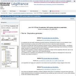Loi n° 47-1775 du 10 septembre 1947 portant statut de la coopération