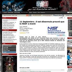 11 Septembre : il est désormais prouvé que le NIST a menti