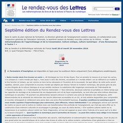 Septième édition du Rendez-vous des Lettres - Le rendez-vous des Lettres