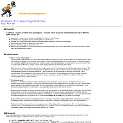 Séquences pédagogiques - Analyse d'un reportage télévisé