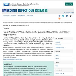 CDC EID - FEV 2020 - Rapid Nanopore Whole-Genome Sequencing for Anthrax Emergency Preparedness