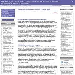 Efficacité collective et cohésion (Buton, 2005) - Bloc notes de Jean Heutte : sérendipité, phronèsis et ataraxie sont les trois mamelles qui nourrissent l'Épicurien de la connaissance ;-)