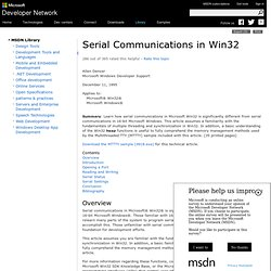 Serial Communications in Win32