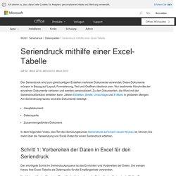 Seriendruck mithilfe einer Excel-Tabelle - Word