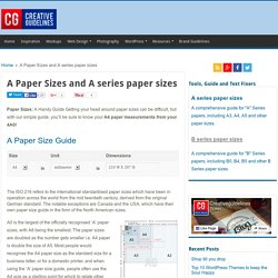 Creative Guidelines- A Series Paper Sizes Online
